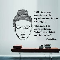 Wall Decal Vinyl Sticker Decals Art Decor Design Buddha Statue Indian Yoga Om Ganesh Prayer God Kharma Chakras Style Quote Inscription Statement Dorm Bedroom (M1430)