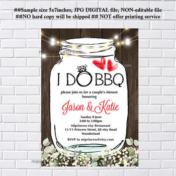 I Do BBQ Invitations, Wedding Shower Invites Jar Couples Shower BBQ, Mason Jar BBQ Engagement Party, Bridal , white color - card 1129