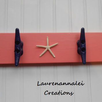 Wall Rack  Boat Cleat  Coral Decor  Navy Boat by LaurenAnnaLei