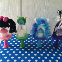 Monster Inc....(set of 4) Monster Inc. themed mini cupcake cloche stands