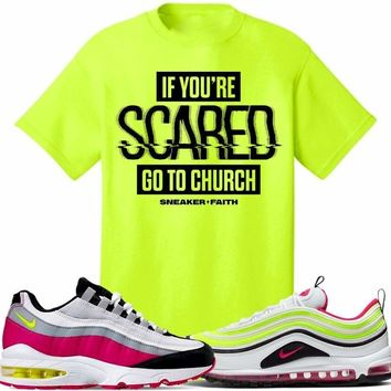 Air Max White Rush Pink Volt Sneaker Tees Shirt to Match - SCARED