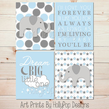 Baby Boy Decor Nursery Prints I'll Love You Forever Dream Big Little One Blue Gray Boy Wall Art Elephant Nursery Art Print Wall Decor  #1198