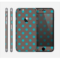 The Gray & Blue Polka Dot Skin for the Apple iPhone 6