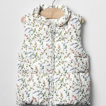 Gap Baby Floral Ruffle Trim Puffer Vest