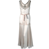 1930's Ethereal Ivory Rhinestone-Lace & Chiffon Bias-Cut Hourglass Gown