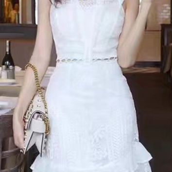 White Ruffle Trim Lace Overlay Mini Dress