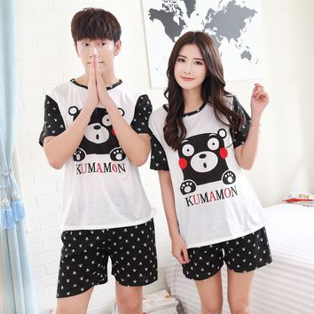2017 New Summer Short sleeve Lovers pajamas men &women sleepwear Cartoon Leisure Home wear clothes loose couple pyjamas sets