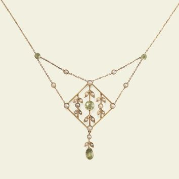 Edwardian Peridot and Pearl Lavaliere | Erica Weiner