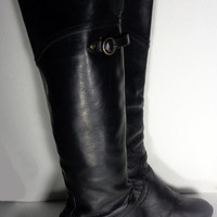 FRYE 77596 Jane Tall Cuff Black Leather Boots Women's Size 6
