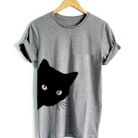 Black Cat Gray T-Shirt