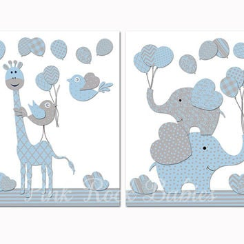 Baby boy nursery decoration nursery blue elephant giraffe wall decor kids room decor baby boy room artwork baby shower gift poster for boys