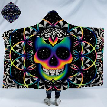 Chaos By Brizbazaar Hooded Blanket for Adult Gothic Colored Skull Sherpa Fleece Wearable Throw Blanket Microfiber Galaxy Bedding