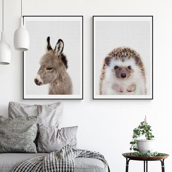 Little Animals Art Posters and Prints Donkey Wall Art Canvas Painting Hedgehog Wall Pictures For Nursery Living Room Home Decor