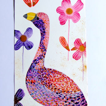 Flamingo Watercolor Ink Acrylic Paint Bird Flowers Animal Decor Nature Bird Pink Purple Blue Gold Flamingo Wall Art Flamingo Fine Art Bird