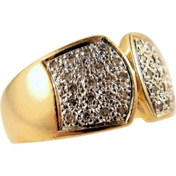 Perfect cigar band in stamped 18K solid gold and diamonds, French gold ring