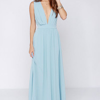 Blue Deep V Neck Backless Maxi Dress - Sheinside.com