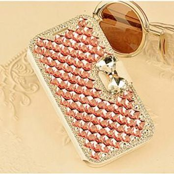 3D Bling Crystal Rhinestone Flip Phone Leather Fashional Diamond Cover Luxury Phone Case For Samsung S III I9300