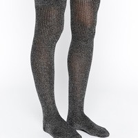 ASOS Rib Metallic Over The Knee Socks