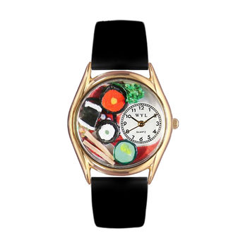 Whimsical Watches Healthcare Nurse Gift Accessories Sushi Black Leather And Goldtone Watch