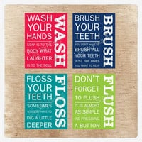 Printable Bathroom Art. Wash, Floss, Flush, and Brush!