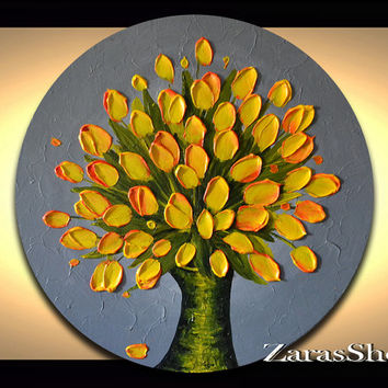 Sunny yellow tulips vase bouquet on grey painting impasto palette knife round circle wall art by Zara M