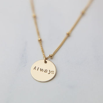 Personalized name disc necklace on Satellite Chain / Customized bridesmaids gift / Large initial disc necklace