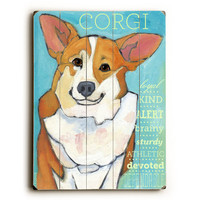 Corgi by Artist Ursula Dodge Wood Sign