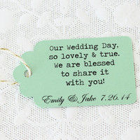 Wedding Tags, Personalized Tags, Custom Wedding Tags, Wedding Favor Tags, Rustic Wedding, Kraft Wedding Tags, Mint Gift Tags