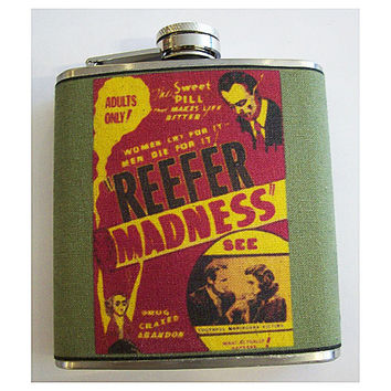 Reefer Madness flask retro vintage marijuana propaganda devil's harvest pot kitsch movie poster