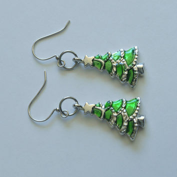 Christmas Earrings, Christmas Tree Earrings - Christmas Jewelry, Green and Silver Tree Earrings - Holiday Christmas Tree Earrings -