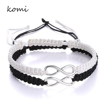 KOMi 2pcs Handmade Woven 8 Words Lucky Friendship Bracelet Set Infinity Love Bracelet Couples Bracelet Set Jewelry B-071