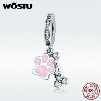 WOSTU New Collection 925 Sterling Silver Animal Dog Footprint & Dog Bone Pendant Charm fit Women Bracelet DIY Jewelry DXC452