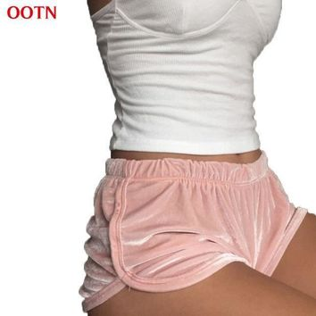 Ootn Dk003 Soft Velvet High Elastic Shorts Women Fitness Clothing Blush Pink Flannel Casual Workout Mini Knickers Clothing