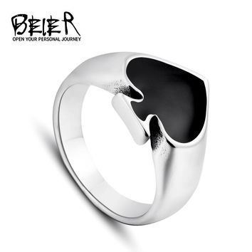 Black Cool Spade Lucky Ring For Man And Woman High Quality Stainless Steel Oil Painting No Fade Jewelry Gothic BR8-209