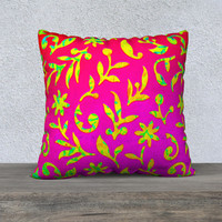"""Ornate Abstract 22"""" x 22"""" Pillow Case"""