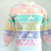 Pastel stripes and stars sweater/ vintage pastel sweater/ 80s style candy raver club kid sweater size XS/ pastel with white stars