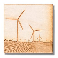 Wind Turbine Wood Magnet