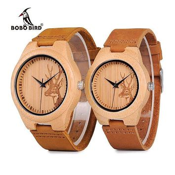 Bamboo Wooden Watch With Genuine Leather Strap - Unisex