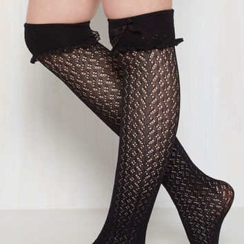 Flirty Tricks Thigh Highs in Ebony | Mod Retro Vintage Socks | ModCloth.com
