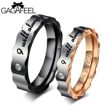 GAGAFEEL Engrave Name Ring For Men Women Unisex Stainless Steel Rings Finger Letter Zircon Love Jewelry For Party US Size 5-12