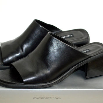 Nine West Black Leather Slides 7.5M