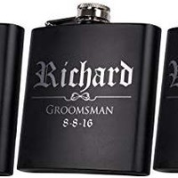 Set of 6, Set of 3, Single - Personalized Flask, Groomsmen Gift, Customized Groomsman Flasks, Wedding Favors, Matte Black, Design 3 (3)