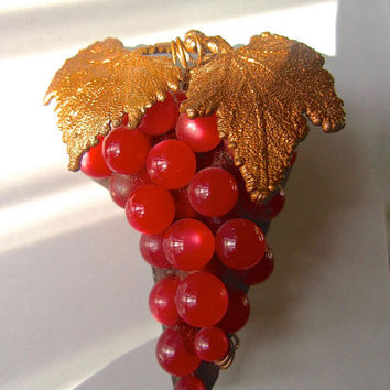 CZECH Red Glass Moonglow Grape Brooch, Art Deco, Brass Leaves, Vintage