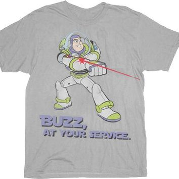 Toy Story Buzz Lightyear At Your Service Silver Adult T-shirt