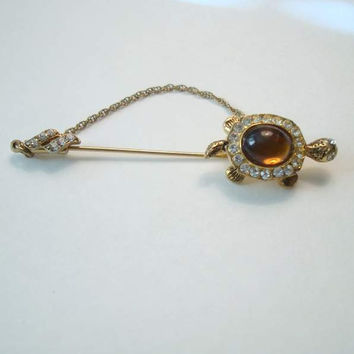 Turtle Stick Hat Pin Rhinestones Brown Cabochon Vintage Marine Jewelry
