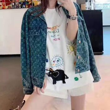 """""""Louis Vuitton""""Unisex Clothes Edgy Fashion All-match Cute Casual Edgy Cool Star Pattern Denim Long Sleeve Buttons Lapel Cowboy Coat"""