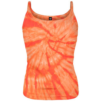 Orange Spiral Juniors Tank Top