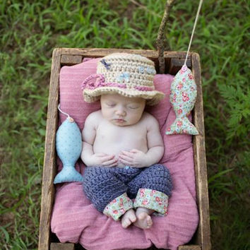 Newborn Fishing Hat & Pants - Photo Prop - Baby Girl