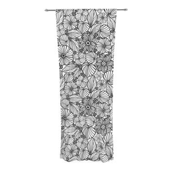 """Julia Grifol """"Candy Flowers In Black"""" Gray White Decorative Sheer Curtain"""