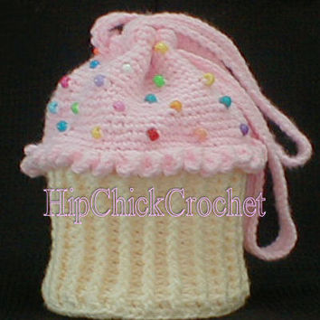 Cupcake Purse Crochet Pattern Larger Size - Instant Download